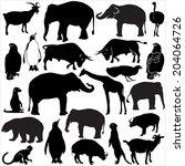 Stock vector zoo animals collection vector silhouette 204064726