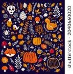 autumn decorative collection... | Shutterstock .eps vector #2040660020