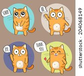 set of cute cartoon cat in... | Shutterstock .eps vector #204068149