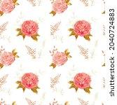 soft pink peony seamless...   Shutterstock .eps vector #2040724883
