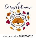 autumn vector illustration with ... | Shutterstock .eps vector #2040794396