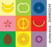 flat minimalist geometric fruit ...   Shutterstock .eps vector #2040803249