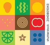 flat minimalist geometric fruit ...   Shutterstock .eps vector #2040805043