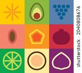 flat minimalist geometric fruit ...   Shutterstock .eps vector #2040808676