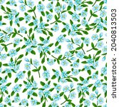 floral ditsy seamless pattern...   Shutterstock .eps vector #2040813503