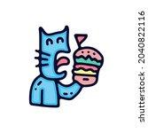 Hungry Cat Eat Burger....