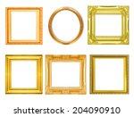 set of golden vintage frame... | Shutterstock . vector #204090910
