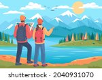 young people tourists walk... | Shutterstock .eps vector #2040931070