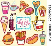 vector bright set of fast food. | Shutterstock .eps vector #204099088