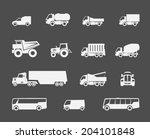 trucks and buses flat icons set