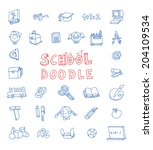 doodle school icon  hand drawn... | Shutterstock .eps vector #204109534
