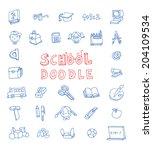 doodle school icon  hand drawn... | Shutterstock .eps vector #204109534