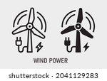 wind power generator icon.... | Shutterstock .eps vector #2041129283