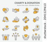 charity icon set. collection of ... | Shutterstock .eps vector #2041129613