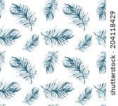 elegant pattern of feathers... | Shutterstock .eps vector #204118429