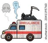 pixel art of ambulance death... | Shutterstock .eps vector #2041195760
