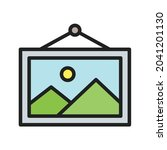 framed picture icon vector...   Shutterstock .eps vector #2041201130