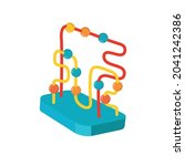 logic toy with paths and balls...   Shutterstock .eps vector #2041242386