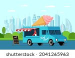 fast food blue truck with cook...   Shutterstock .eps vector #2041265963