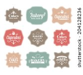 collection of vintage retro... | Shutterstock .eps vector #204128236