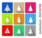 icons set with christmas tree...   Shutterstock .eps vector #204128788