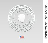 white welt label with map of... | Shutterstock .eps vector #204129304