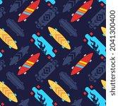 vector skateboarding seamless... | Shutterstock .eps vector #2041300400