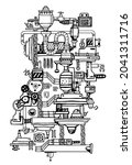 vector vertical illustration of ... | Shutterstock .eps vector #2041311716