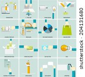 set of flat icons for web and... | Shutterstock .eps vector #204131680