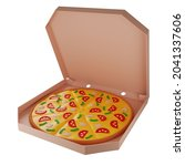 3d pizza with mushrooms in a...