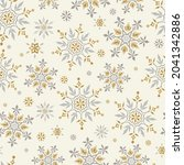 snowflakes gold and silver... | Shutterstock .eps vector #2041342886