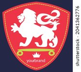 shield of lion with skateboard... | Shutterstock .eps vector #2041362776