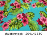 vintage seamless tropical... | Shutterstock . vector #204141850