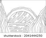 doodle alien fantasy water... | Shutterstock .eps vector #2041444250