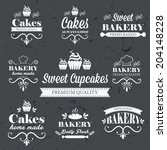 vintage retro bakery labels on... | Shutterstock .eps vector #204148228