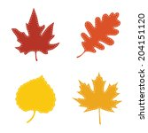 autumn leaves with stitches on... | Shutterstock .eps vector #204151120