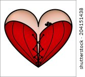 corset heart with lacing icon.... | Shutterstock . vector #204151438