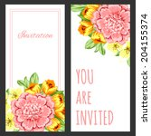set of invitations with floral... | Shutterstock .eps vector #204155374