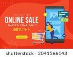 online sale banner discount...   Shutterstock .eps vector #2041566143