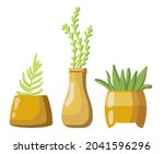 collection of flower pots with...   Shutterstock .eps vector #2041596296