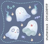 ghosts dress up in different...   Shutterstock .eps vector #2041608959