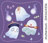 ghosts dress up in chinese...   Shutterstock .eps vector #2041614356