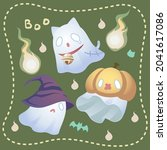 ghosts dress up in different...   Shutterstock .eps vector #2041617086