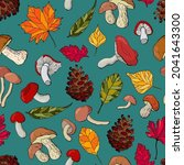 autumnal seamless pattern with... | Shutterstock .eps vector #2041643300