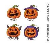 cartoon set of cute halloween... | Shutterstock .eps vector #2041652750