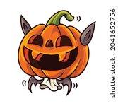 happy halloween with cartoon... | Shutterstock .eps vector #2041652756