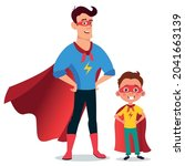 father and son superheroes.... | Shutterstock .eps vector #2041663139