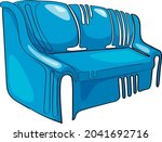 pictured sofa blue on a white...   Shutterstock .eps vector #2041692716
