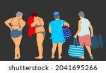 mature woman enjoy on sea beach ... | Shutterstock .eps vector #2041695266