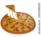 3d slice of hot pizza with...